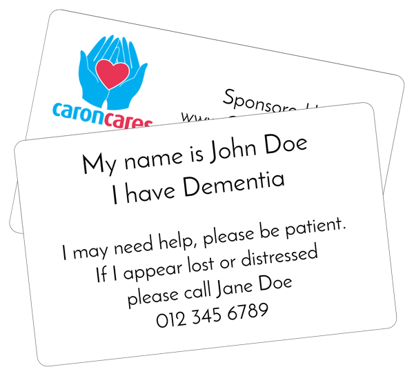 Caron cares dementia assistance card